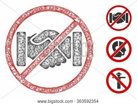 Mesh Stop Handshakes Polygonal Web 2d Vector Illustration. Carcass Model Is Based On Stop Handshakes
