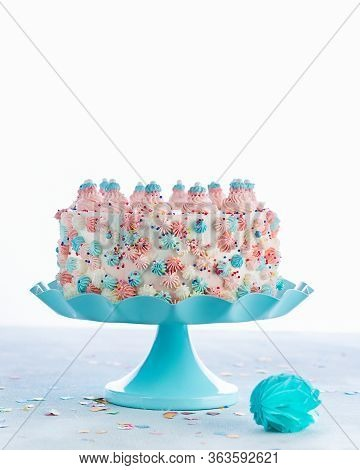 Colorful Buttercream Birthday Cake Over A Light Background With Copy Space. Celebration Cake Ideas F