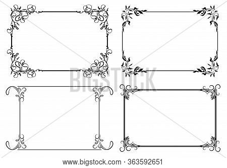 Set Of Four Decorative Stylish Vector Frames For Your Design