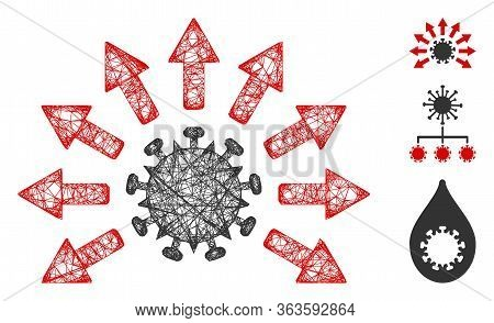Mesh Virus Distribution Polygonal Web Icon Vector Illustration. Model Is Created From Virus Distribu