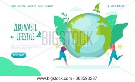 Zero Waste Lifestyle, Landing Vector Illustration. Help Environment Lifestyle, Reduce Plastic And Ca