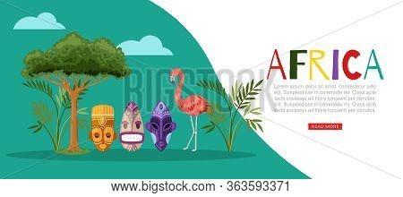 Africa Nature Banner, Flamingo Vector Illustration. Colorful Ethnic Aboriginal People Cartoon Masks
