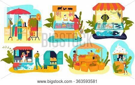Market Stalls Business, Local Market Farmer Shops, Food Stands Set Of Isolated Flat Vector Illustrat