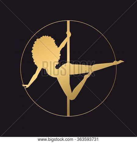 Pole Dance Black Background, Vector Illustration. Woman In Graceful Pose On Pylon, Modern Sport. Vec