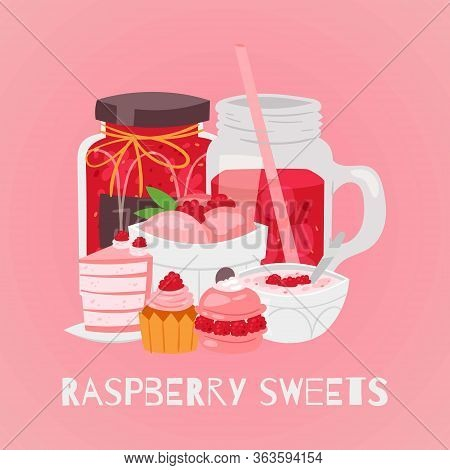Raspberry Sweet Desserts With Icecream, Cake, Cupcakes With Berries, Sorbet And Juice Drink Cartoon
