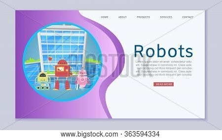 Robotics Online Lessons With Cute Robots And Transformers Website Template For Kids Lessons Vector C