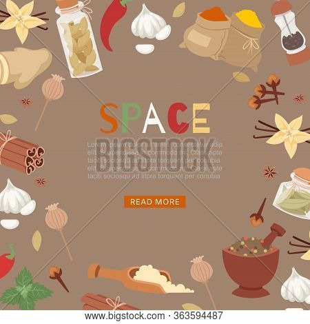 Cartoon Poster With Aroma And Flavor Ingredient Of Food Condiments Vector Illustration. Cinnamon, Cl