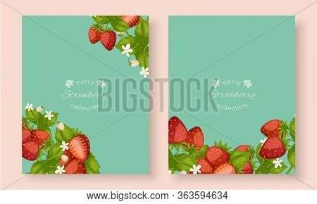 Strawberry Banners Set With Berries And Leaves And Typography Cartoon Vector Illustration. Summer Sw