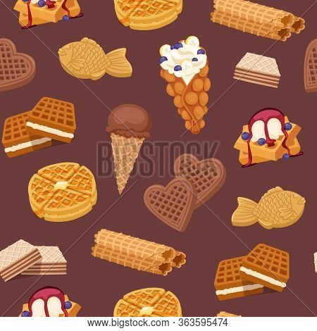 Waffles, Cookies And Ice Cream, Waffle-cakes And Chocolate Delicious Dessert Wafer Bakery Food Seaml