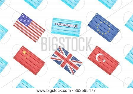 Medical Masks With The Flags Of The Usa, The European Union, China, Turkey, Great Britain And A Mask