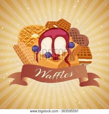 Waffle With Ice Cream And Berries, Waffle-cakes And Chocolate Delicious Cream Dessert Wafer Bakery F
