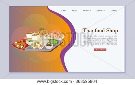 Thai Food Shop And Cuisine Vector Illustration With Tom Yam Goong, Asian Food , Thailand Seafood Dis