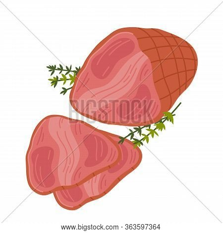 Ham. Meat Delicatessen On White Background. Slices Of Smoked Juicy Pink Ham. Simple Flat Style Vecto