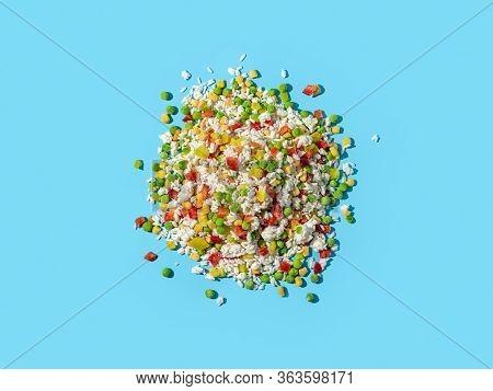 Frozen Vegetables Assorted On Blue Background. Assorted Frozen Vegetables Food With Ice, Top View Or