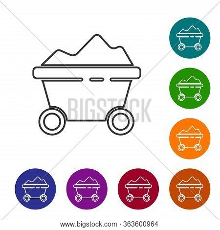 Black Line Coal Mine Trolley Icon Isolated On White Background. Factory Coal Mine Trolley. Set Icons
