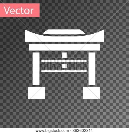 White Japan Gate Icon Isolated On Transparent Background. Torii Gate Sign. Japanese Traditional Clas