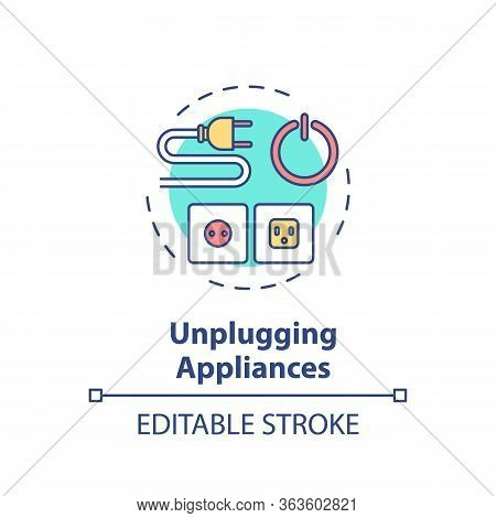 Unplugging Appliance Concept Icon. Cable Safety. Domestic Electricity Consumption. Resource Saving I