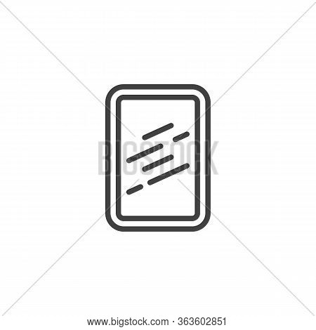 Square Frame Mirror Line Icon. Linear Style Sign For Mobile Concept And Web Design. Wall Mirror With