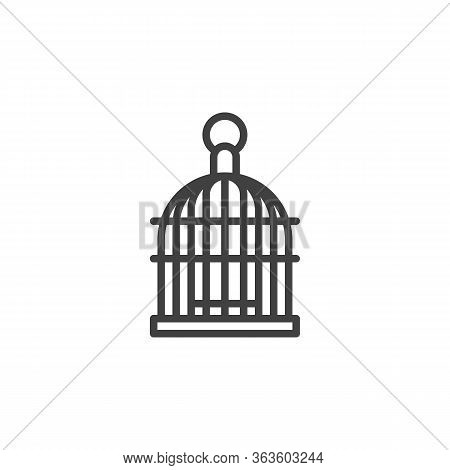 Bird Cage Line Icon. Linear Style Sign For Mobile Concept And Web Design. Birdcage Outline Vector Ic