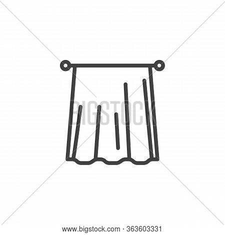 Window Curtain Line Icon. Linear Style Sign For Mobile Concept And Web Design. Interior Curtain Outl