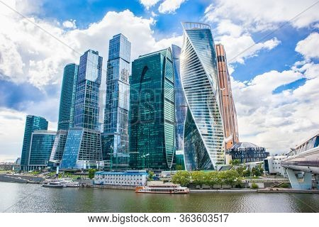 Moscow City In The Sun. Skyscrapers Moscow, Russia. Moscow City - View Of Skyscrapers Moscow Interna