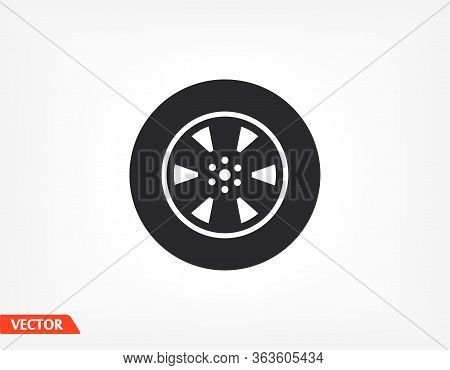 Tyre - Wheel Car Icon Vector Eps 10. Car Wheel Drive Design Flat Illustration