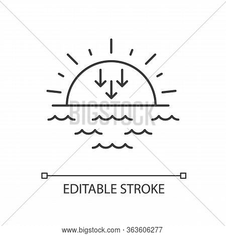 Sunset Pixel Perfect Linear Icon. Sundown, Weather Forecasting Thin Line Customizable Illustration.
