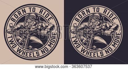 Animal Moto Rider Vintage Badge With Ferocious Wild Boar Head Biker Riding Motorcycle In Monochrome