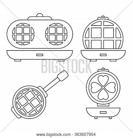 Round Waffle Icons Set. Outline Set Of Round Waffle Vector Icons For Web Design Isolated On White Ba