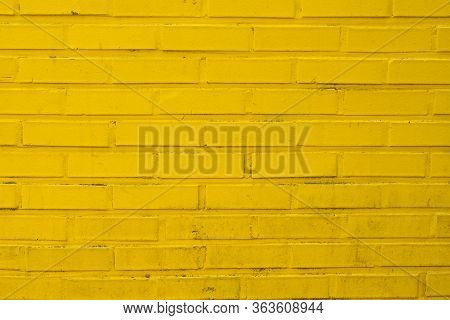 Close Up Yellow Brick Wall Texture Background