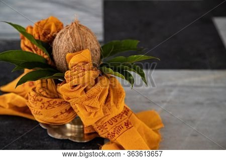 Coconut For Indian Hindu Traditional Pooja. Vedic Fire Ceremony Called Yagya. Items For The Indian Y