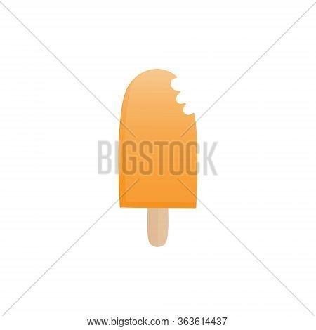 Orange Popsicle Vector Illustration. Ice Lolly With Orange Citrus Fruit Flavor On Stick. Summer Swee