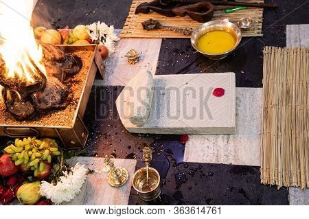 Items For The Indian Yajna Ritual. Indian Vedic Fire Ceremony Called Pooja. A Ritual Rite, For Many