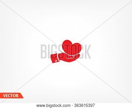 Heart In Hand. Hand Holds A Heart. Heart Icon. Vector Graphics Of Hands And Hearts. Kindness And Lov