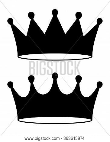 Pair Of Black Crown Icon In Flat Style, Illustration For Your Logo Or Design.