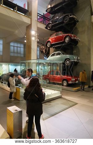 London, Uk - April 22, 2016: Visitors Admire London Science Museum, Uk. With Almost 2.8 Million Annu