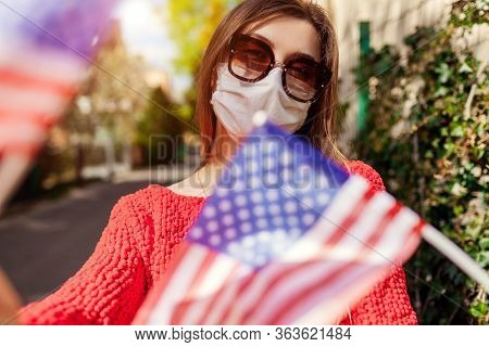 Woman Wears Protective Mask Outdoors Celebrates Usa Independence Day Holds Flags During Coronavirus
