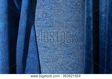 Dense Textile And Boucle Textile Which Are Blue In Color. Background, Texture