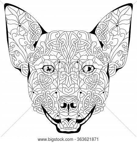 Zentangle Stylized Head Dog. Hand Drawn Decorative Vector Illustration For Coloring