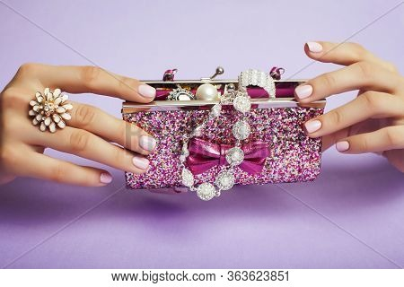Little Girl Stuff For Princess, Woman Hands Holding Small Cute Handbag With Jewelry And Manicure, Lu