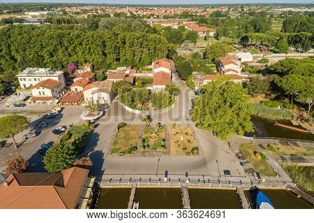 Aerial View Of Torre Del Lago Puccini, Fraction Of Viareggio In Province Of Luca, Tuscany