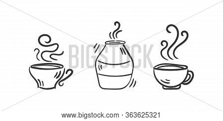 Set Of Hot Drinks. Vector Set Of Coffee Cups On A White Background. Hot Drinks Coffee, Tea, Cappucci