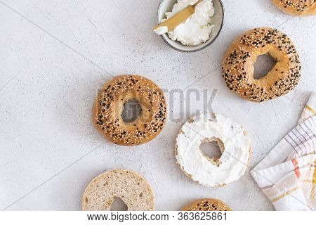 Fresh Baked Sourdough New York Style Bagels With Philadelphia Cheese
