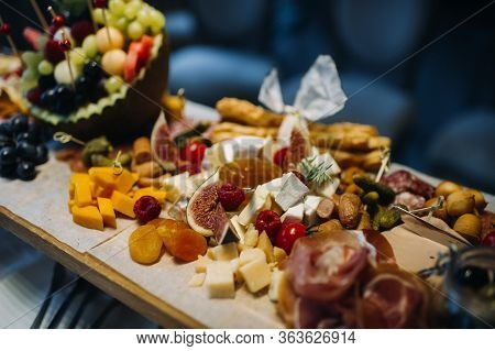 Restaurant Service. Restaurant Table With Food At The Event.snacks On The Table.catering