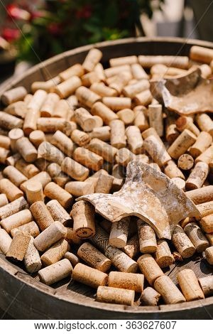 Kotor, Montenegro - 05 Jule 2019: Wine Corks. The Texture Of Wine Crusts. Lots Of Corks From Under W