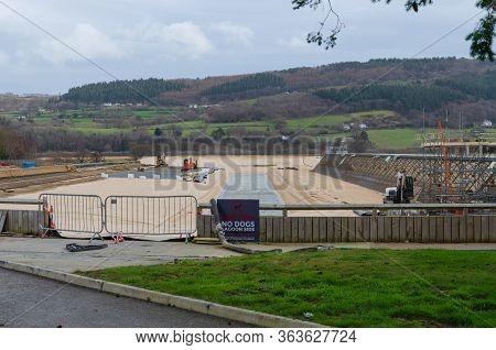 Dolgarrog, Wales, Uk : Mar 2, 2019: Construction Work Underway At The Surf Snowdonia Tourist Attrtac