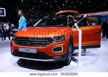 Geneva, Switzerland - March 10, 2019: Orange Crossover Volkswagen T-roc Presented At The Annual Gene