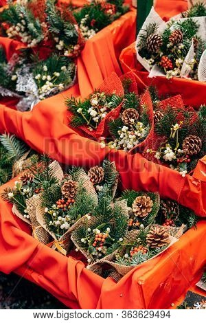 Showcase Of Bunch Of Holly The Christmas Market. Envelopes With Christmas Tree Branch, Bump, Berries