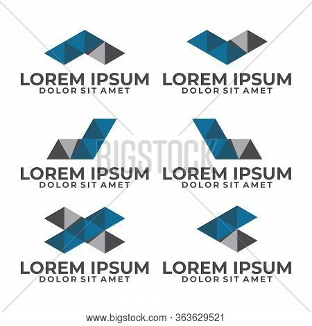 Initial Letter V, A, L, K, C, X, D, J Logo Template Set With Modern Low Poly Triangle Symbol In Flat