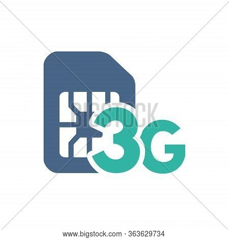 Sim Card With 3g Network Flat Icon. Mobile Slot, Phone Chip Symbol